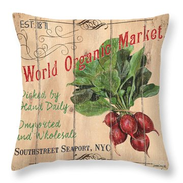 World Organic Market Throw Pillow