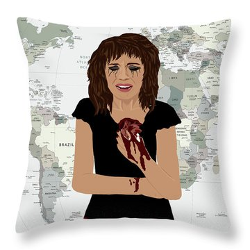 Throw Pillow featuring the digital art World Pain by Nancy Levan