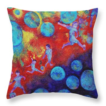 Throw Pillow featuring the painting World Soccer Dreams by Claire Bull