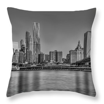 World Trade Center And The Brooklyn Bridge Bw Throw Pillow
