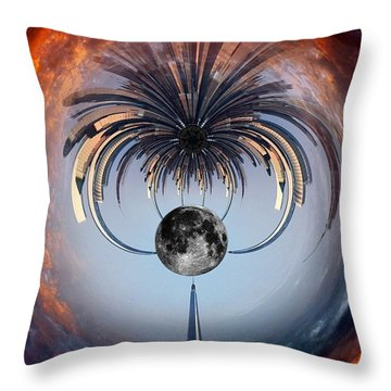 World Trade Center Tiny Planet Throw Pillow by Susan Candelario