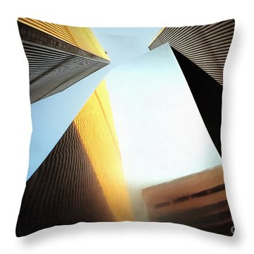 World Trade Center Towers And The Ideogram 1971-2001 Throw Pillow by Nishanth Gopinathan