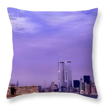 World Trade Center Twin Towers And The Statue Of Liberty  Throw Pillow