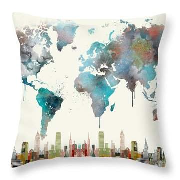 Throw Pillow featuring the painting World Travel Map by Bri B