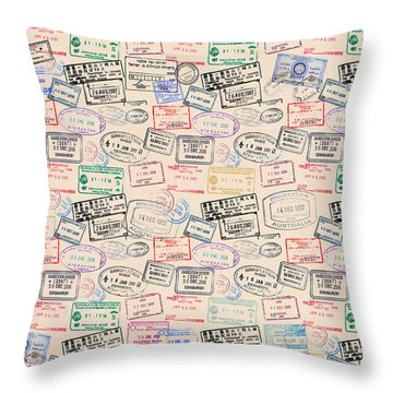 Throw Pillow featuring the mixed media World Traveler Passport Stamp Pattern - Antique White by Mark Tisdale