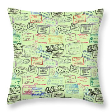 Throw Pillow featuring the mixed media World Traveler Passport Stamp Pattern - Mint Green by Mark Tisdale