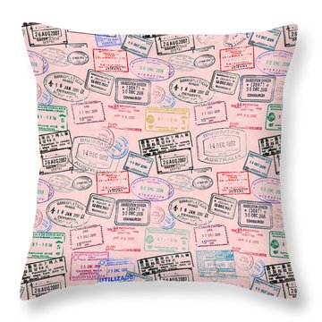 Throw Pillow featuring the mixed media World Traveler Passport Stamp Pattern - Rose Pink by Mark Tisdale