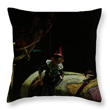World Traveler Pinocchio Throw Pillow by Kelly Borsheim