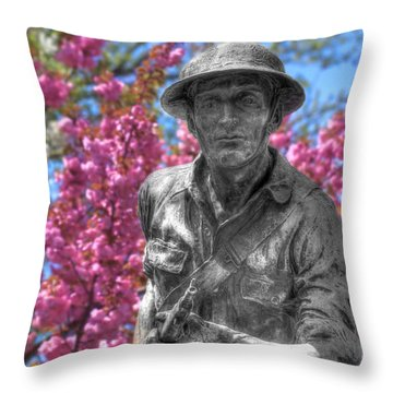 Throw Pillow featuring the photograph World War I Buddy Monument Statue by Shelley Neff