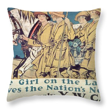 World War I Ywca Poster  Throw Pillow by Edward Penfield