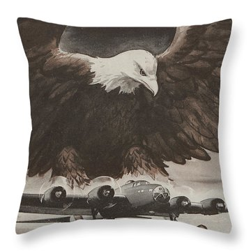 World War II Advertisement Throw Pillow by American School