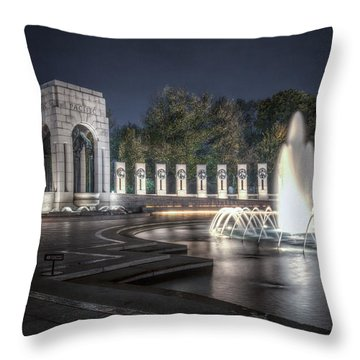 World War II Memorial At Night Throw Pillow