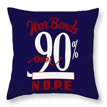 Throw Pillow featuring the mixed media World War Two - War Bonds  by War Is Hell Store