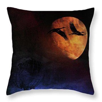 Throw Pillow featuring the digital art World's Fair Birds by Richard Ricci