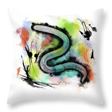 Worm Illustration Throw Pillow