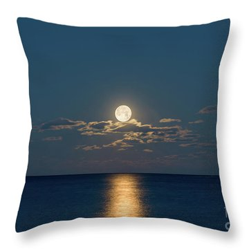 Throw Pillow featuring the photograph Worm Moon Over The Atlantic by Michael Ver Sprill
