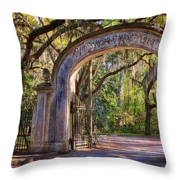 Wormsloe Plantation Gate Throw Pillow