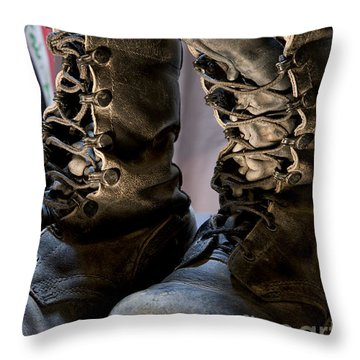 Throw Pillow featuring the photograph Worn Out Veteran by Melany Sarafis