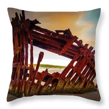 Worn Rusting Shipwreck Throw Pillow