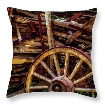 Worn Western Wagon Throw Pillow