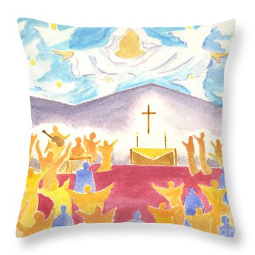 Worship God In Spirit And Truth Throw Pillow by Audrey Peaty