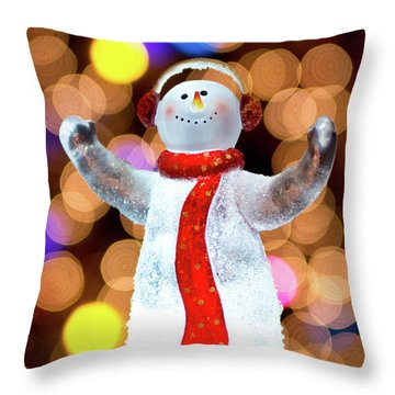 Worshiping Snowman Throw Pillow