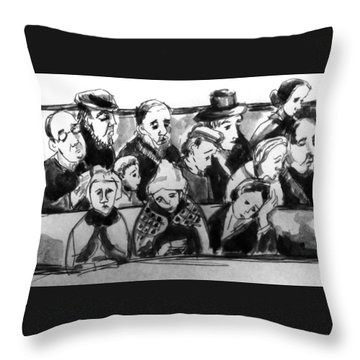 Worshippers Throw Pillow by Hae Kim