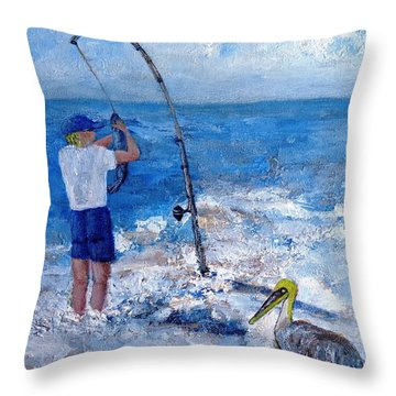 Worth Wading 4 Throw Pillow by Annie St Martin