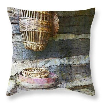 Woven Wood And Stone Throw Pillow