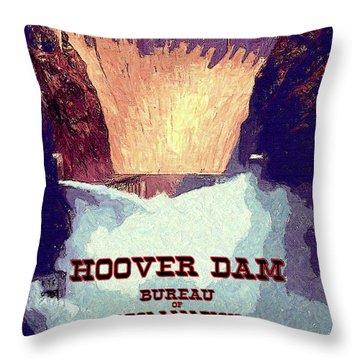 Throw Pillow featuring the digital art Wpa_hoover Dam by Chuck Mountain