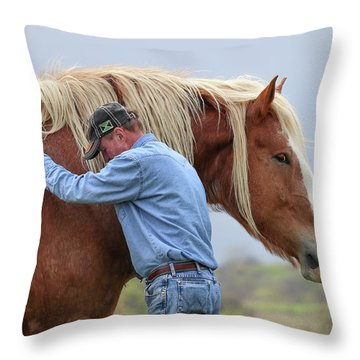 Wrangler Jeans And Belgian Horse Throw Pillow