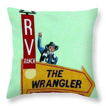 Wrangler Motel Throw Pillow
