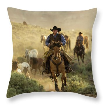Wrangling The Horses At Sunrise  Throw Pillow