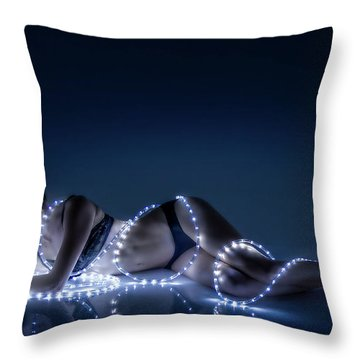 Throw Pillow featuring the photograph Wrapped In Light by Rikk Flohr