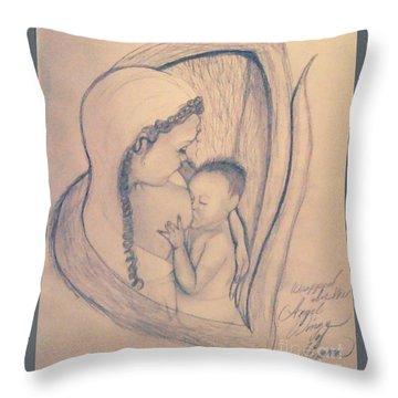 Wrapped Within The Angel Wings Of Momma Throw Pillow