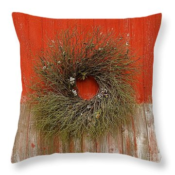 Wreath On The Barn Throw Pillow by Nicola Fiscarelli