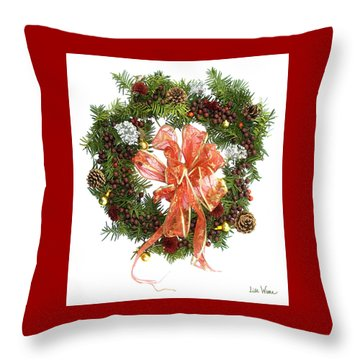 Throw Pillow featuring the digital art Wreath With Bow by Lise Winne