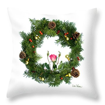 Throw Pillow featuring the digital art Wreath With Rose by Lise Winne