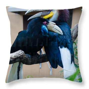 Wreathed Hornbills Throw Pillow by Donna Brown