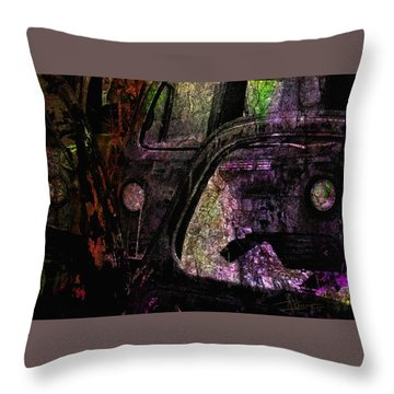 Throw Pillow featuring the photograph Wrecking Yard Design by Jim Vance