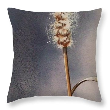 Wren And Cattails Throw Pillow