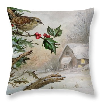Wren In Hollybush By A Cottage Throw Pillow