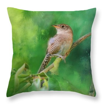 Wren In The Garden Bird Art Throw Pillow by Jai Johnson