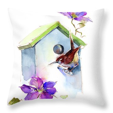 Wren With Birdhouse And Clematis Throw Pillow