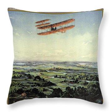 Wright Brothers - World's Greatest Aviators - Dayton, Ohio - Retro Travel Poster - Vintage Poster Throw Pillow