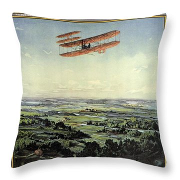 Wright Brothers - World's Greatest Aviators - Dayton, Ohio - Retro Travel Poster - Vintage Poster Throw Pillow