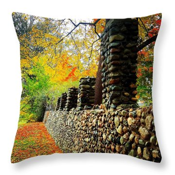 Wright Park Stone Wall In Fall Throw Pillow
