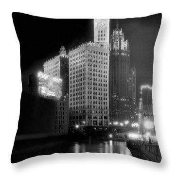 Wrigley And Tribune Buildings Throw Pillow by Underwood Archives