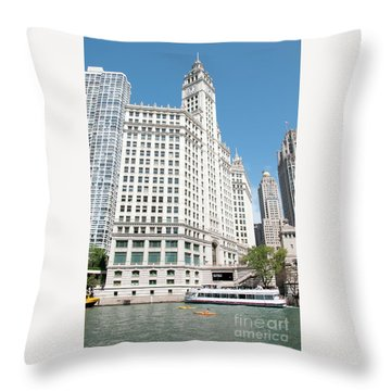 Wrigley Building Overlooking The Chicago River Throw Pillow