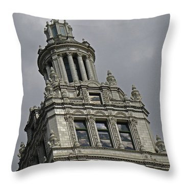 Wrigley Building Throw Pillow by Tony Grider